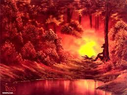 4 bob ross paintings