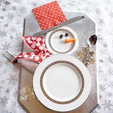 household dining table set christmas snowman knife: welcome your guests to the dinner table with an adorable snowman made from plates and silverware