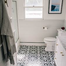 small bathroom remodels. Bathroom With Black And White Ceramic Tile Flooring Small Bathroom Remodels