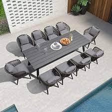 purple leaf 11 pieces patio dining sets