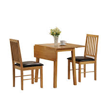 small dining room spaces with drop leaf dining table sets and 2 wood dining chairs with black leather seats and flower centerpieces ideas