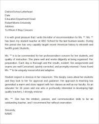Personal Reference Letter For Student Letter Of Recommendation For Student Letter To Teacher
