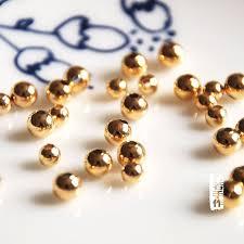 <b>10 pcs</b>/<b>lot gold color</b> round loose beads DIY golden materials ...