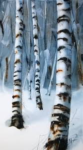 saatchi art artist nadia tognazzo painting birch trees in wintertime art
