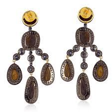 sapphire opal pave diamond chandelier earrings 18k gold