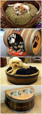 Wine Barrel Dog Beds--Love the dog house and the food/water bowls storage