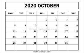 Printable October 2020 Calendar Monday Start September