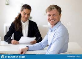 Job Interview Success Head Shot Portrait Of Male Applicant At Successful Job