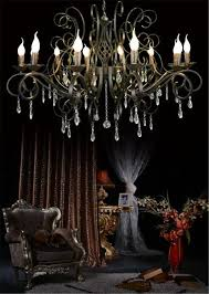large and luxury black industrial wrought iron chandelier e14 candle lights vintage crystal home chandeliers livingroom 12 arms