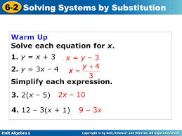 warm up solve each equation for x 1 y x 3