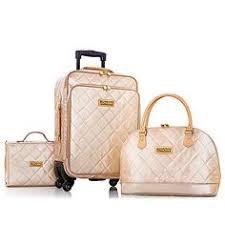 Adrienne Vittadini Black & White 4-Piece Luggage Set   Bags ... & Joy & IMAN 4-piece Iconic Quilted Luggage Set w/Handbag Adamdwight.com