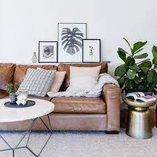 a classic brown leather sofa