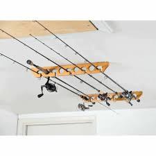 organized fishing wooden ceiling horizontal rod rack 9 capacity com