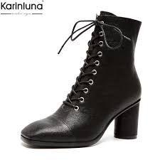 karinluna brand new dropship genuine leather sheepskin high heels lace up boots women shoes elegant office lady shoes boots fur boots black knee high boots