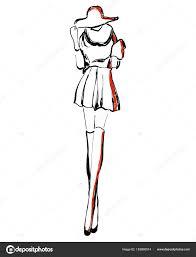 эскиз модели моды девушка в платье векторное изображение