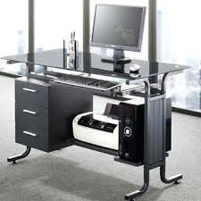 engaging glass desk with drawers black computer glass desk with drawers