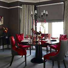 Red Dining Room Chairs Grey Wall Color And Opulent Tufted Red Chairs For Glamorous Dining