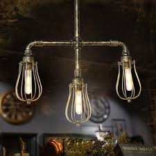 industrial chandelier with metal cage shade in antique bronze finish 3 light