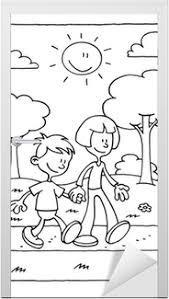Sticker Kleurplaat Van Een Jongen En Meisje Lopen In Het Park