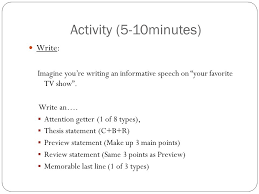 activity minutes write imagine you re writing an activity 5 10minutes write imagine you re writing an informative speech