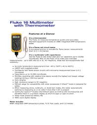 fluke 16 multimeter with thermometer