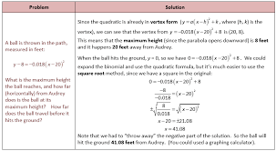 quadratic word problem finding the path of a ball