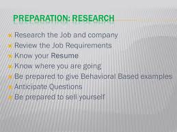 Preparation Presentation Content Behavior Based Interview