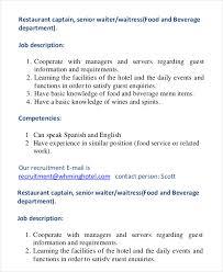 restaurant waiter job description waiter job description