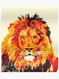 Pixel Art Red Lion Poster