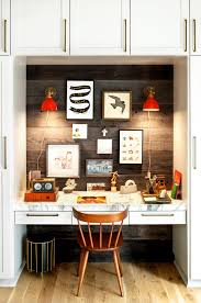Home Office Light Fixtures A Home Office Alcove In The Family Room Is Decorated With A