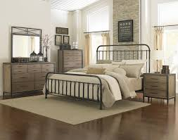 Metal Bed Bedroom Industrial Revival Style California King Size Metal Bed By