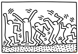 Small Picture Dancing Figures By Keith Haring Painting Coloring Page Art