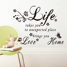 Flower Love Life Quotes With Takes You To Home Vinyl Butterfly Wall
