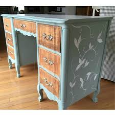 furniture refurbishing ideas. french provincial desk makeover in duck egg blue with hand painted leaves and vines by furniture refurbishing ideas a
