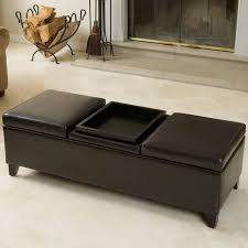this triple topped bench ottoman features flippable center cushion for tray table with storage