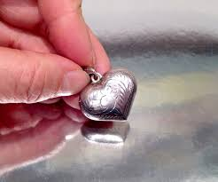 vintage sterling silver puffy heart pendant and 50 similar items s l1600