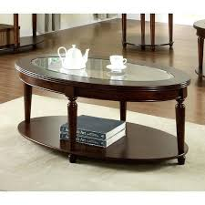oval glass and wood coffee table coffee table furniture of crescent dark cherry glass top oval