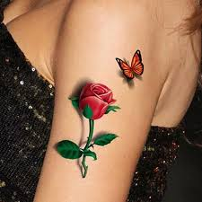 3d Temporary Removable Waterproof Body Art Butterfly Flower Tattoo