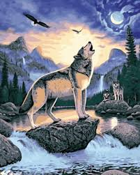 wolf howling painting. Wonderful Wolf MaHuafi735 Wolf Howling Lake Bird Painting By Numbers Animal DIY Oil  Digital Paint And Howling Painting S