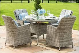 oxford 6 seat round garden table set inset ice bucket umbrella grey synthetic