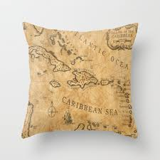 Nautical Chart Pillows Old Nautical Map Carribeans Throw Pillow By Iskanderox