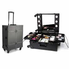 wheeled makeup case with 6 bulbs lights cosmetic train case beauty travel box black on on