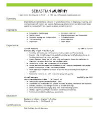 Aircraft Mechanic resume example