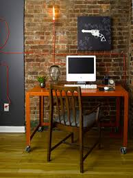 wall accent lighting. Exellent Wall Modern Orange And Black Home Office With Exposed Brick Wall Throughout Accent Lighting S