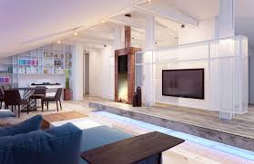 contemporary track lighting living room contemporary. Contemporary Wood Side Table For Living Room Feat Chic Track Lighting And Large Wall Mount Tv Idea