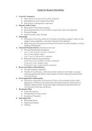 Business Plan Format Template Letter One Page Word Free Outline