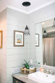 shiplap in bathroom to save on budget i opted to paint the existing vanity in gray
