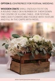festival wedding centrepieces wooden box crates