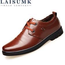 LAISUMK Winter Leather Solid Color <b>Men Flat Shoes Plus</b> Velvet ...