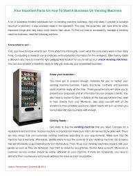 Ebay Snack Vending Machine Simple Four Important Facts On How To Start A Business On Vending Machines